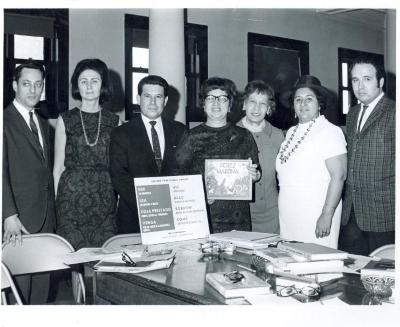 Lillian López presenting Pura Belpré's book Perez y Martina