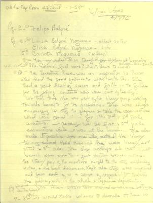 Draft of Post-Interview Notes on Pura Belpré