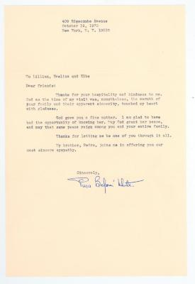 Correspondence to Lillian López from Pura Belpré