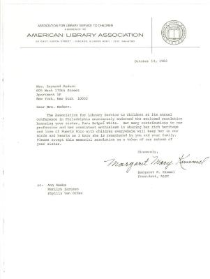 Correspondence to Mrs. Raymond Maduro from the American Library Association