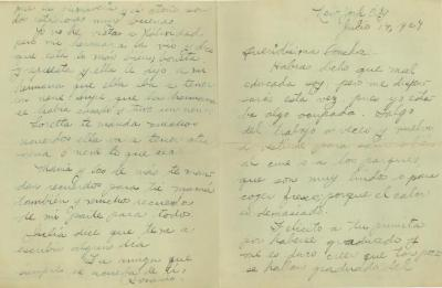 """Correspondence to Concha Colón from her friend """"Rosario"""""""