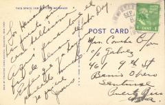 Postcard to Concha Colón from Jesús Colón