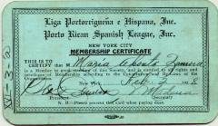 Liga Puertorriqueña membership card