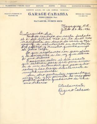 Correspondence from Regino Cabassa