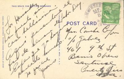 Postcard to Concha Colón from Jesús Colón