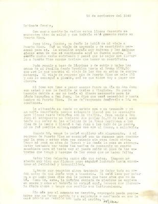 Correspondence to Concha Colón from Mina Ortiz