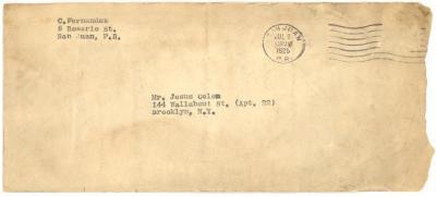 Envelope to Jesús Colón from Concha Fernandez