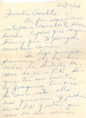 "Correspondence to Concha Colon from ""Juanita"""