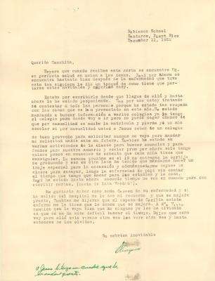 "Correspondence to Concha Colón from ""Olimpia"""