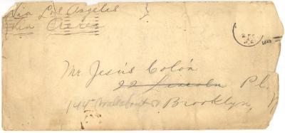"Envelope to Jesús Colón from ""John Hancock"""