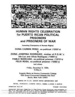 Human Rights Celebration for Puerto Rican Political Prisoners and Prisoners of War