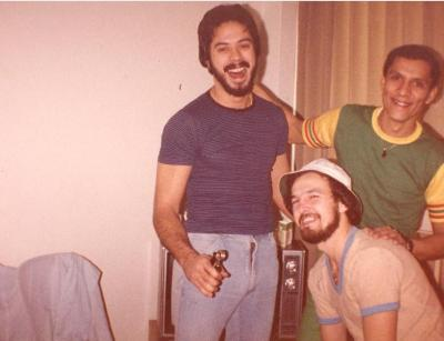 Ray Ramos (bottom right) at home with friends