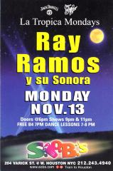 Flyer for Ray Ramos y su Sonora at S.O.B.'s