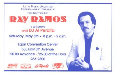 Flyer for Ray Ramos y Su Sonora at Egan Center