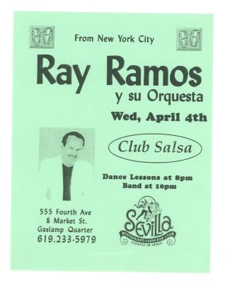 Flyer for Ray Ramos y Su Orquesta at Club Salsa