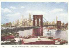 Brooklyn Bridge and Lower Manhattan, New York City, postcard