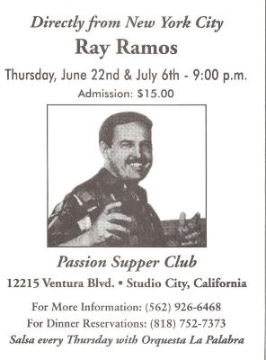 Flyer for Ray Ramos performance at the Passion Supper Club