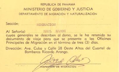 Migration Card for Ray Ramos