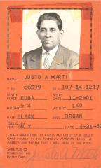Justo A. Martí picture ID card