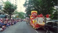 Musicians performing on a parade float