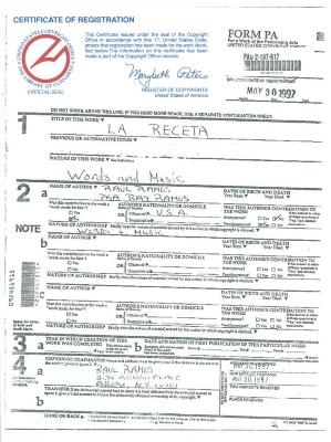 "Certificate of Registration of ""La Receta"""