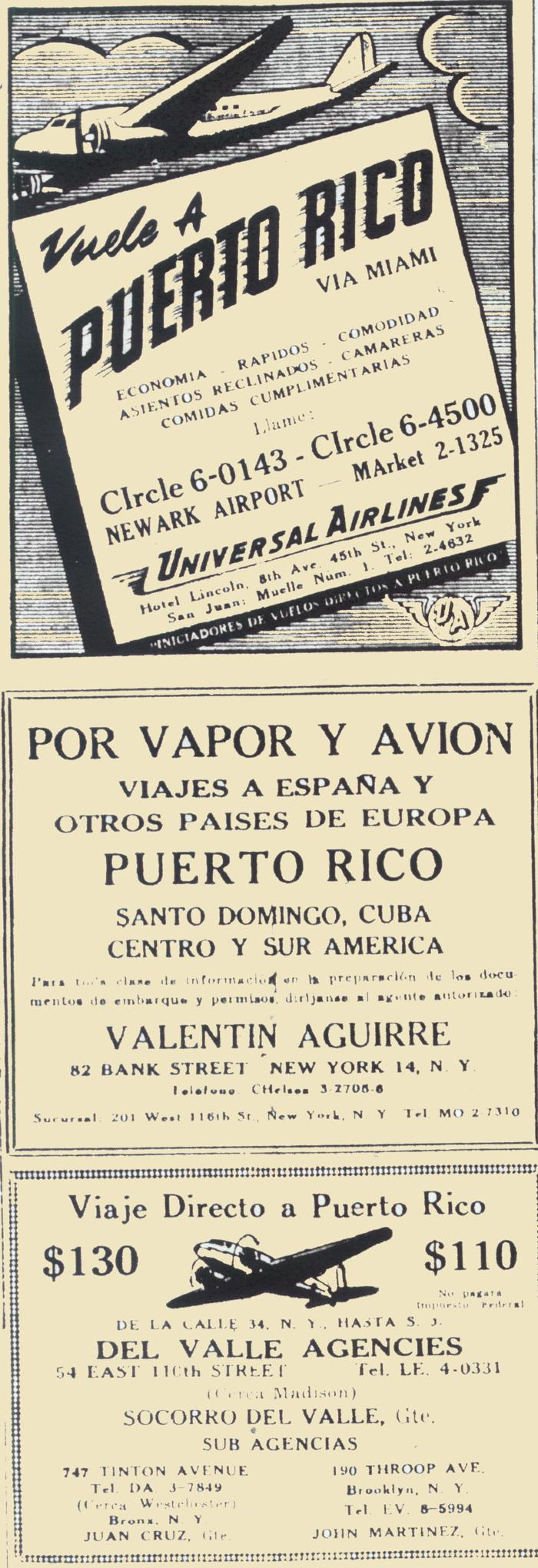 Spanish and English advertisements published in local newspapers in New York and Puerto Rico
