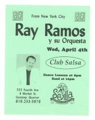 Flyer for Ray Ramos y Su Orquesta at Club Salsa