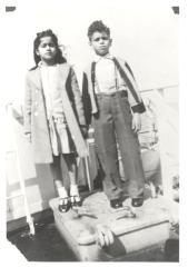 Elsa Santiago-Febus and a young passenger