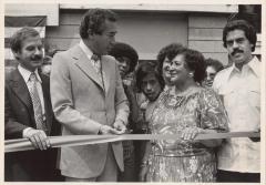 "Evelina López Antonetty, Jose Serrano, Herman Badillo, and others in the opening of ""La Escuelita"""