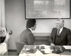 Governor Carlos Romero Barcelo interview in the Migration Division Office