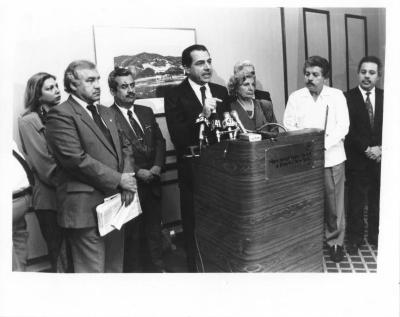 Puerto Rico Governor Rafael Hernández Colón giving a press conference