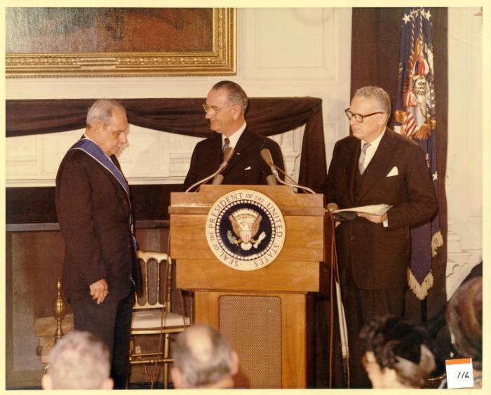 Presidential Medal Awarded to Luís Muñoz Marín by President Lyndon B. Johnson