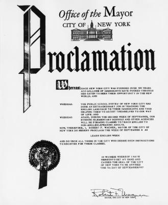 "New York City Mayor's Proclamation for ""Learn English Week"""
