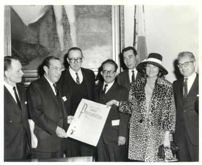 Robert F. Wagner, Jr. Holding Proclamation of Discovery of Puerto Rico Day