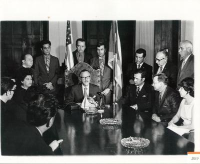 Luis A. Ferré At A Meeting With Migration Division Staff