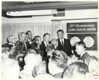 Lyndon B. Johnson At 50th Anniversary of ILGWU Health Center