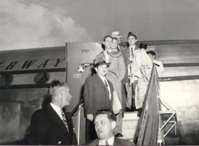 Passengers exiting Pan American Airways flight