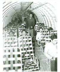Interior of plane travel for migrants