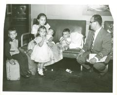Migrant family in route of travel