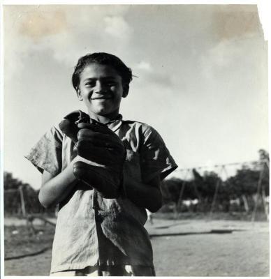 Child with baseball mitt