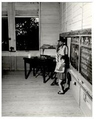 Elementary school scene with student