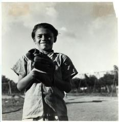 Child with baseball mitt