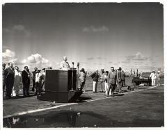 President Harry S. Truman at Podium On Visit to Puerto Rico