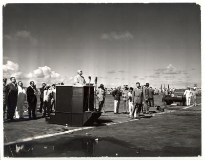 President Harry S. Truman at Podium On Visit to Puerto Rico