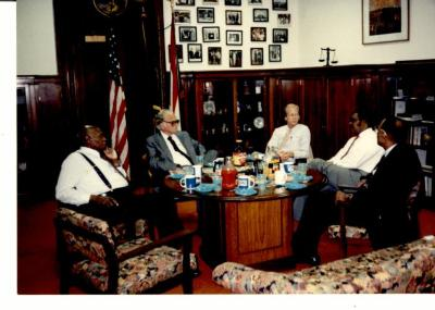 "Billy Graham and Philadelphia reverends discussing the ""Greater Philadelphia Billy Graham Crusade"""