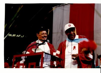 Nelson Diaz and Bill Cosby at Temple University Commencement