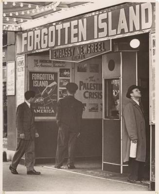 Embassy Newsreel Theater advertisement for Forgotten Island