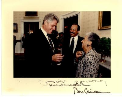 Bill Clinton, Nelson Diaz, and Antonia Pantoja during Presidential Medal of Freedom event