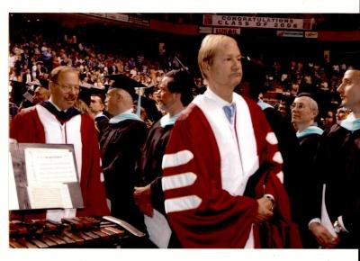 Nelson Diaz and Lewis Katz walking during graduation ceremony