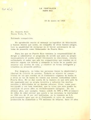 Correspondence to Ruperto Ruiz Roman from Luis Muñoz Marin